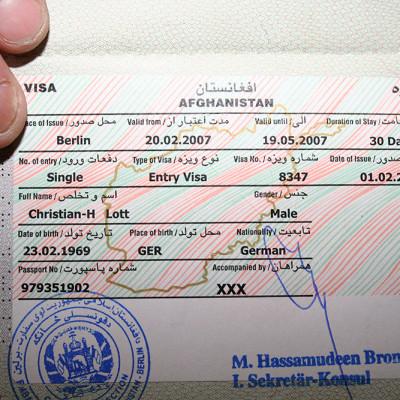 das Visum für Afghanistan war bestätigt