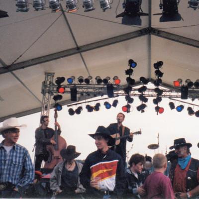 Hermann beim Countryfestival am Bergsee Ratscher mit damaliger (Foxtower Bluegrass) Band
