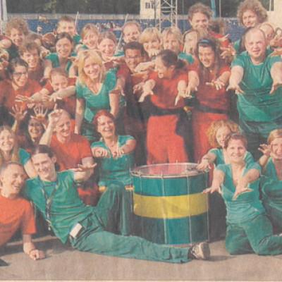 Martin mit Sambagruppe zum Deutschen Evangelischen Kirchentag in Hannover
